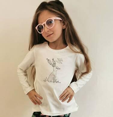 Endo - Bluzka z długim rękawem dla dziewczynki, błyszczący nadruk, porcelanowa, 2-8 lat D04G041_2 20