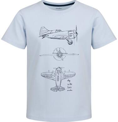 Endo - T-shirt z krótkim rękawem dla chłopca, z samolotem, niebieski, 9-13 lat C03G640_1