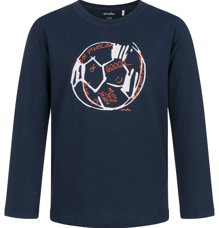 Endo - T-shirt z długim rękawem dla chłopca, z piłką, granatowy, 2-8 lat C03G183_2