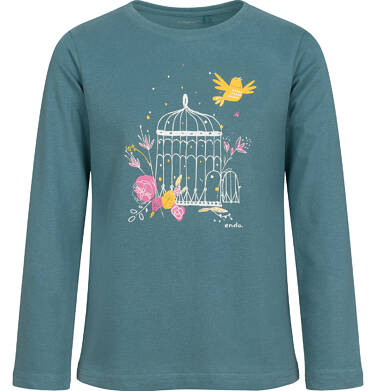 Endo - Bluzka z długim rękawem dla dziewczynki, z kwiatowym motywem, szara, 2-8 lat D04G047_2 8