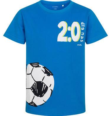 T-shirt z krótkim rękawem dla chłopca, z motywem piłkarskim, niebieski, 9-13 lat C05G037_1