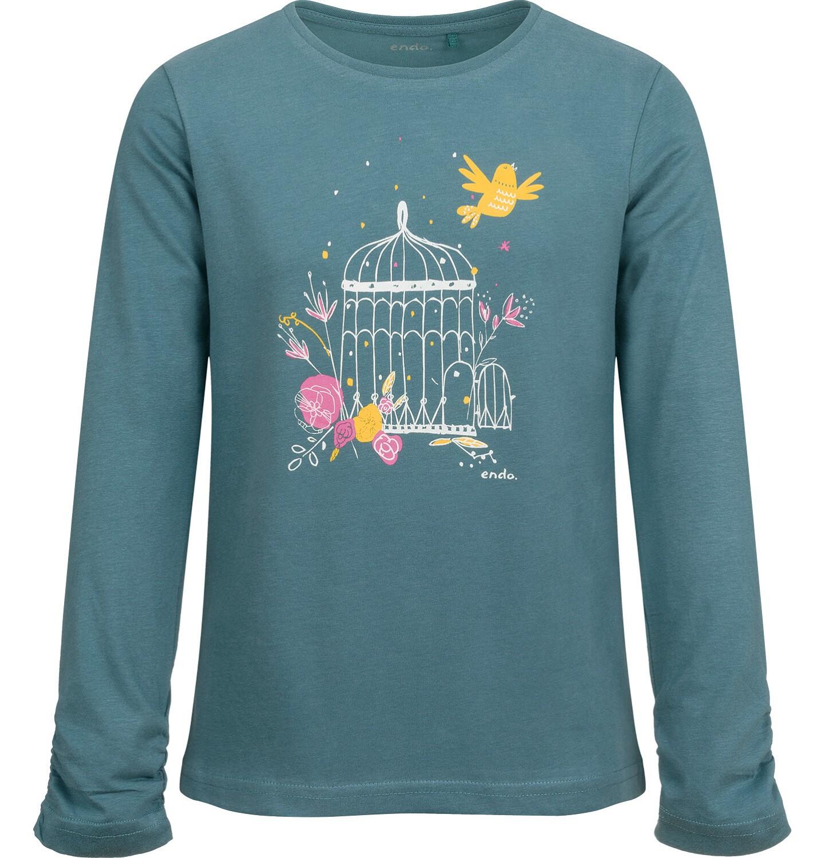 Endo - Bluzka z długim rękawem dla dziewczynki, z kwiatowym motywem, zielona, 9-13 lat D04G051_1