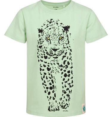 Endo - T-shirt z krótkim rękawem dla chłopca, z lampartem, zielony, 9-13 lat C05G046_1 4