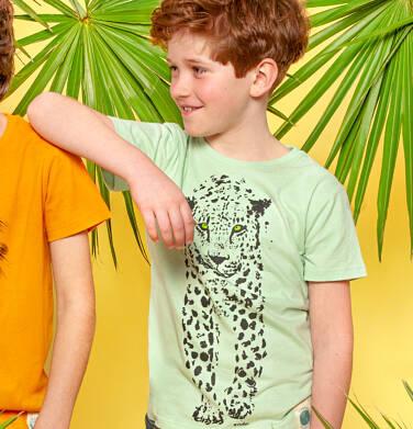 Endo - T-shirt z krótkim rękawem dla chłopca, z lampartem, zielony, 9-13 lat C05G046_1 119
