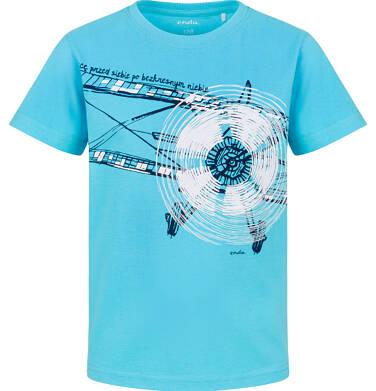 Endo - T-shirt z krótkim rękawem dla chłopca, z samolotem, niebieski, 9-13 lat C03G641_1
