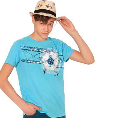 Endo - T-shirt z krótkim rękawem dla chłopca, z samolotem, niebieski, 9-13 lat C03G641_1 24