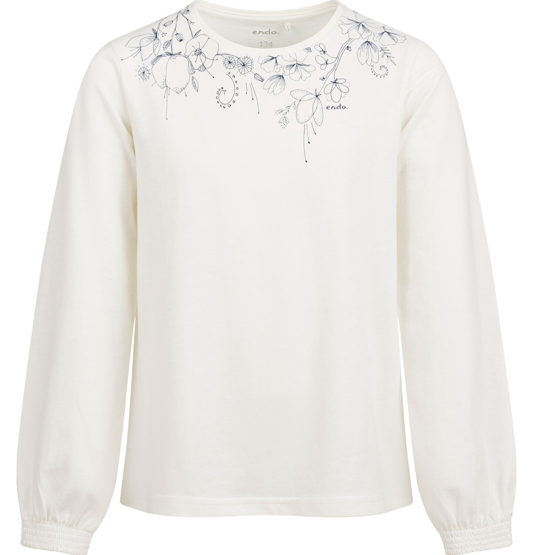 Endo - Bluzka z długim rękawem dla dziewczynki, z nadrukiem przy dekolcie, porcelanowa, 9-13 lat D04G053_1