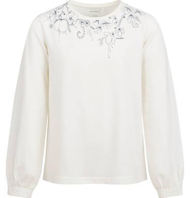 Endo - Bluzka z długim rękawem dla dziewczynki, z nadrukiem przy dekolcie, porcelanowa, 9-13 lat D04G053_1 28