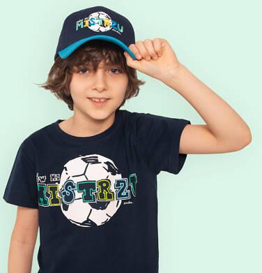 T-shirt z krótkim rękawem dla chłopca, z motywem piłkarskim, granatowy, 2-8 lat C05G047_1