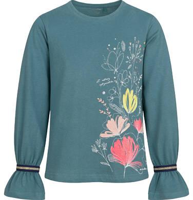 Endo - Bluzka z długim rękawem dla dziewczynki, z kwiatowym motywem, zielona, 9-13 lat D04G056_1 6