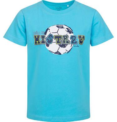T-shirt z krótkim rękawem dla chłopca, z motywem piłkarskim, niebieski, 2-8 lat C05G047_2