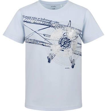 Endo - T-shirt z krótkim rękawem dla chłopca, z samolotem, niebieski, 9-13 lat C03G641_2