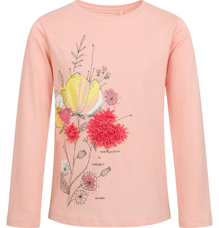 Endo - Bluzka z długim rękawem dla dziewczynki, z kwiatowym motywem, jasnoróżowa, 9-13 lat D04G057_1