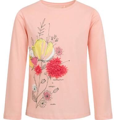 Endo - Bluzka z długim rękawem dla dziewczynki, z kwiatowym motywem, jasnoróżowa, 9-13 lat D04G057_1 17