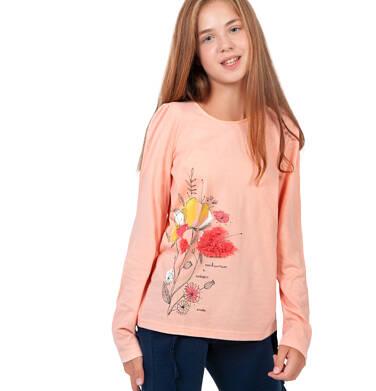 Endo - Bluzka z długim rękawem dla dziewczynki, z kwiatowym motywem, jasnoróżowa, 9-13 lat D04G057_1 36