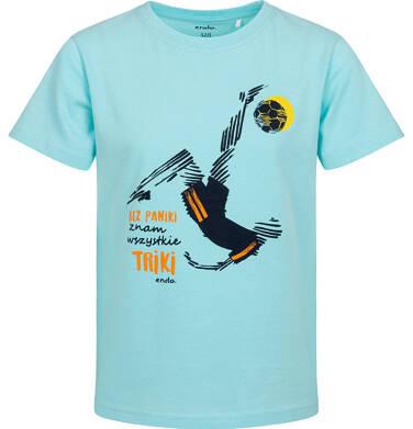 T-shirt z krótkim rękawem dla chłopca, z piłkarzem, niebieski, 2-8 lat C05G051_1