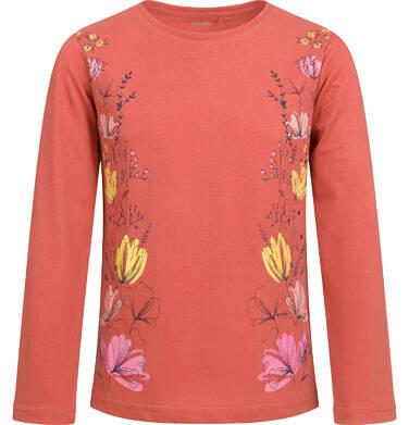 Endo - Bluzka z długim rękawem dla dziewczynki, z kwiatowym motywem, pomarańczowa, 9-13 lat D04G059_1 204