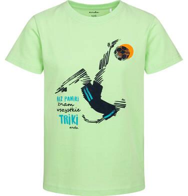 T-shirt z krótkim rękawem dla chłopca, z piłkarzem, zielony, 2-8 lat C05G051_2