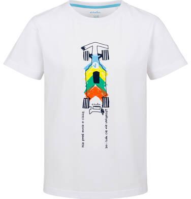 Endo - T-shirt z krótkim rękawem dla chłopca, z samochodem wyścigowym, biały, 9-13 lat C03G642_1