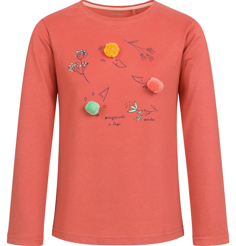 Endo - Bluzka z długim rękawem dla dziewczynki, z kwiatowym motywem, czerwona, 2-8 lat D04G066_1