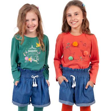 Endo - Bluzka z długim rękawem dla dziewczynki, z kwiatowym motywem, czerwona, 2-8 lat D04G066_1 9