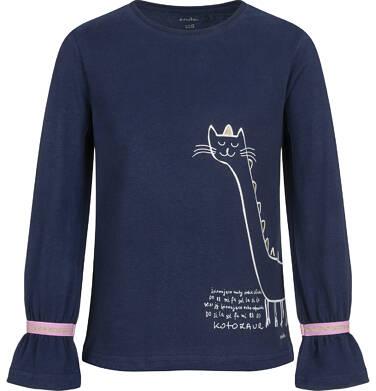 Bluzka z długim rękawem dla dziewczynki, z kotozaurem, granatowa, 2-8 lat D04G107_2