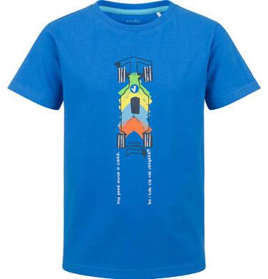 Endo - T-shirt z krótkim rękawem dla chłopca, z samochodem wyścigowym, niebieski, 9-13 lat C03G642_2