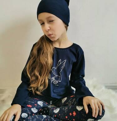 Endo - Bluzka z długim rękawem dla dziewczynki, z ptaszkiem, granatowa, 9-13 lat D04G124_1 7