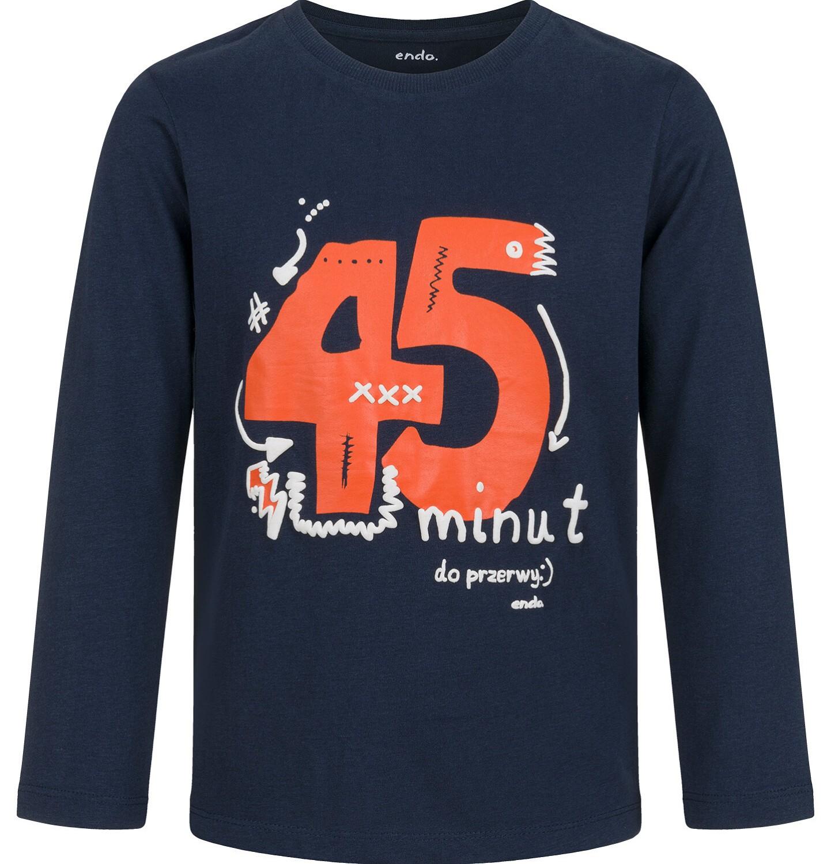 Endo - T-shirt z długim rękawem dla chłopca, ze szkolnym motywem, granatowy, 5-8 lat C03G194_1