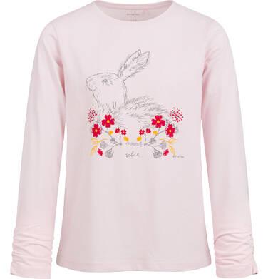 Endo - Bluzka z długim rękawem dla dziewczynki, z zajączkiem w kwiatach, różowa, 9-13 lat D04G127_1 138