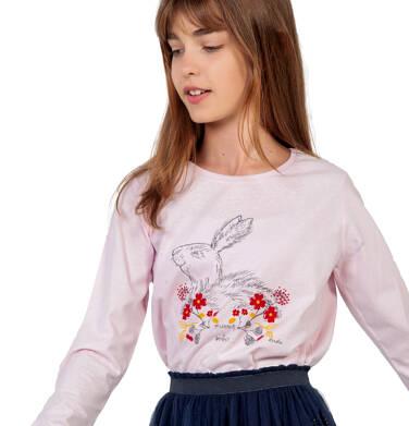 Bluzka z długim rękawem dla dziewczynki, z zajączkiem w kwiatach, różowa, 9-13 lat D04G127_1