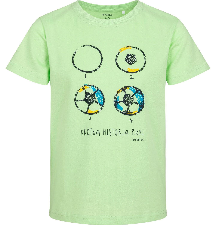 Endo - T-shirt z krótkim rękawem dla chłopca, z piłką nożną, zielony, 2-8 lat C05G101_1