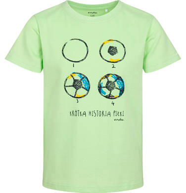 T-shirt z krótkim rękawem dla chłopca, z piłką nożną, zielony, 2-8 lat C05G101_1