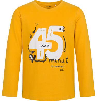 Endo - T-shirt z długim rękawem dla chłopca, ze szkolnym motywem, musztardowy, 5-8 lat C03G194_2,1