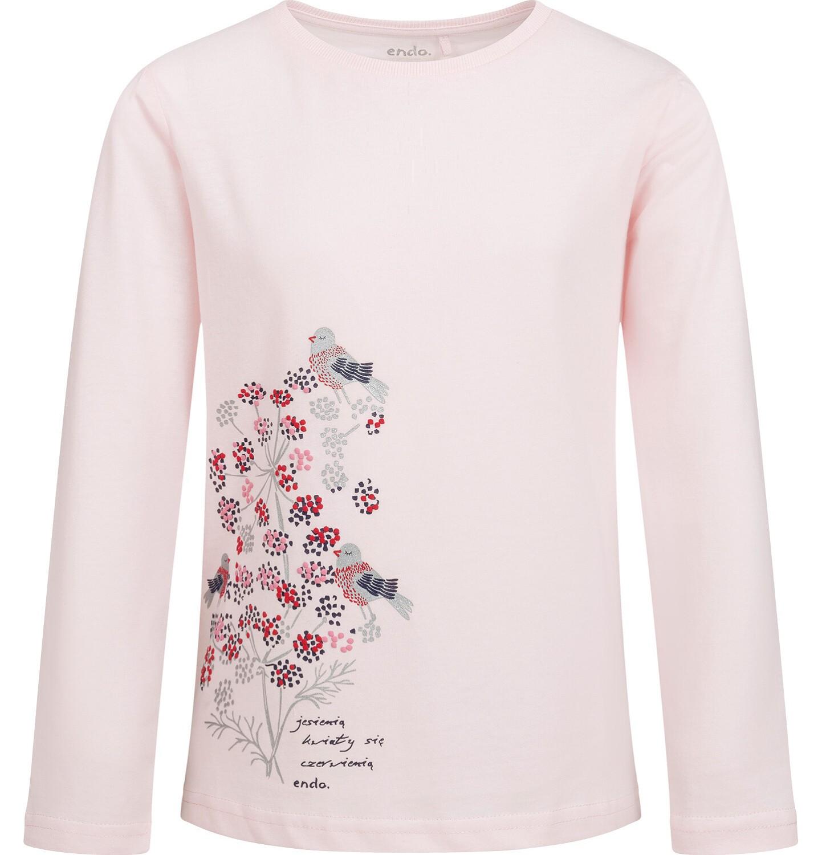 Endo - Bluzka z długim rekawem dla dziewczynki, z kwiecistym motywem, różowa, 9-13 lat D04G134_1