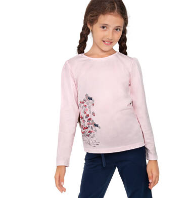 Endo - Bluzka z długim rekawem dla dziewczynki, z kwiecistym motywem, różowa, 9-13 lat D04G134_1,2