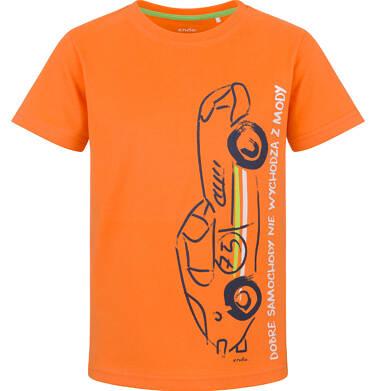 Endo - T-shirt z krótkim rękawem dla chłopca, z samochodem, pomarańczowy, 9-13 lat C03G643_2