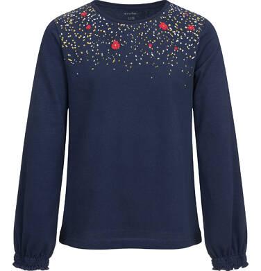 Endo - Bluzka z długim rękawem dla dziewczynki, z nadrukiem przy dekolcie, granatowa, 9-13 lat D04G138_1 40