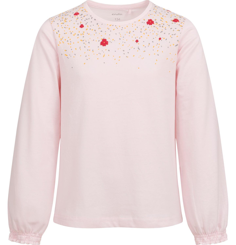 Endo - Bluzka z długim rękawem dla dziewczynki, z nadrukiem przy dekolcie, różowa,  9-13 lat D04G138_2