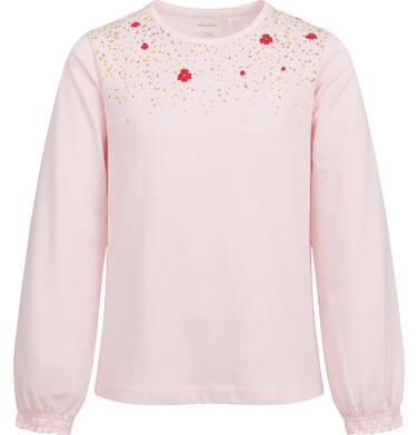 Endo - Bluzka z długim rękawem dla dziewczynki, z nadrukiem przy dekolcie, różowa,  9-13 lat D04G138_2 229