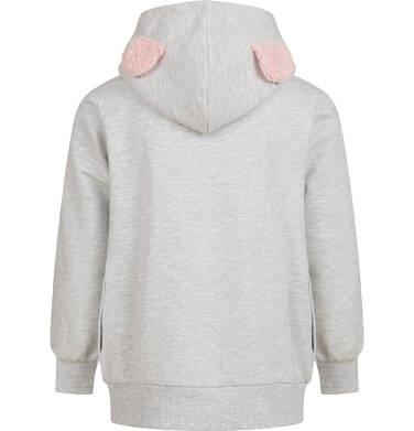 Endo - Bluza z kapturem dla dziewczynki, z misiem, szara, 9-13 lat D04C058_1,2