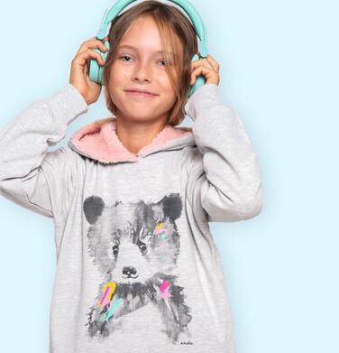 Endo - Bluza z kapturem dla dziewczynki, z misiem, szara, 9-13 lat D04C058_1 3
