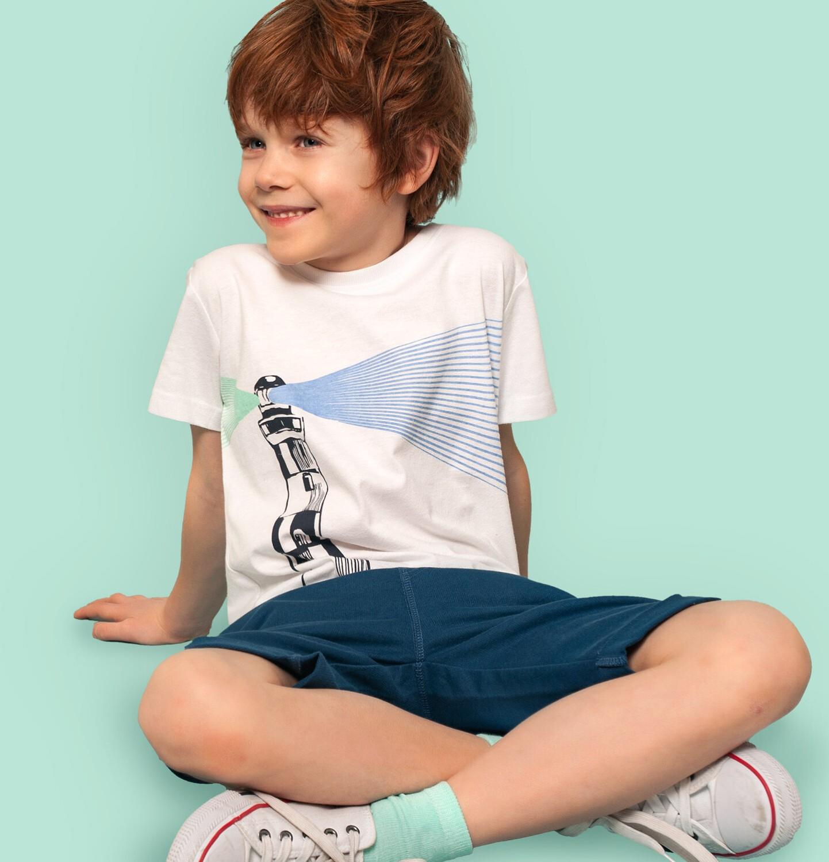 Endo - T-shirt z krótkim rękawem dla chłopca, z latarnią morską, biały, 9-13 lat C05G123_1