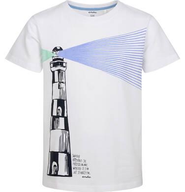 Endo - T-shirt z krótkim rękawem dla chłopca, z latarnią morską, biały, 9-13 lat C05G123_1 1