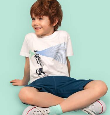 Endo - T-shirt z krótkim rękawem dla chłopca, z latarnią morską, biały, 9-13 lat C05G123_1,1