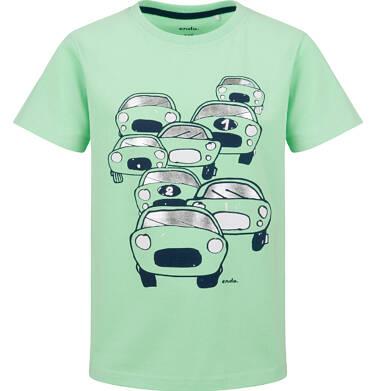 T-shirt z krótkim rękawem dla chłopca, z samochodami, zielony, 9-13 lat C03G644_1