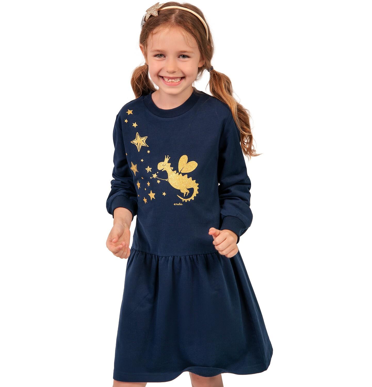 Endo - Sukienka z długim rękawem dla dziewczynki, z nadrukiem, granatowa, 2-8 lat D04H031_1
