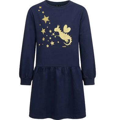 Endo - Sukienka z długim rękawem dla dziewczynki, z nadrukiem, granatowa, 2-8 lat D04H031_1 85
