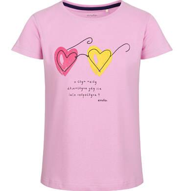 Endo - Bluzka z krótkim rękawem dla dziewczynki, z motywem okularów, różowa, 2-8 lat D03G016_1