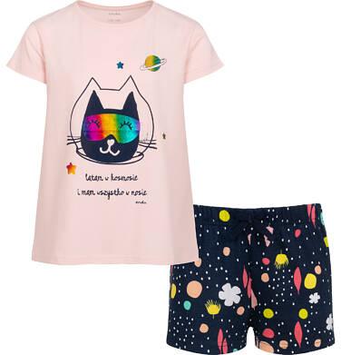 Piżama z krótkim rękawem dla dziewczynki, z kotem astronautą, różowa, 9-13 lat D05V021_1